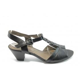 Дамски сандали - естествена кожа - черни - EO-3836