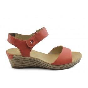 Дамски сандали - естествена кожа - червени - EO-3838