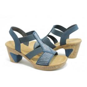 Дамски сандали - висококачествен текстилен материал - сини - EO-4072