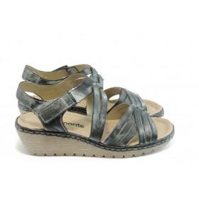 Дамски сандали - естествена кожа - черни - EO-4198