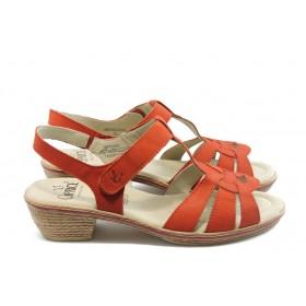 Дамски сандали - естествен набук - червени - EO-4327