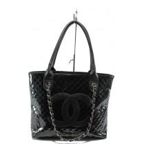 Дамска чанта - еко кожа-лак - черни - EO-5787