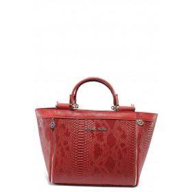 """Дамска чанта - еко-кожа с """"кроко"""" мотив - червени - EO-5783"""