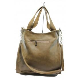 Дамска чанта - висококачествена еко-кожа - бежови - EO-5905