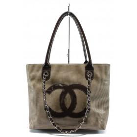 Дамска чанта - висококачествен еко-велур - бежови - EO-6080