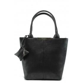 Дамска чанта - висококачествен еко-велур - черни - EO-6083