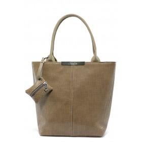 Дамска чанта - висококачествен еко-велур - бежови - EO-6084
