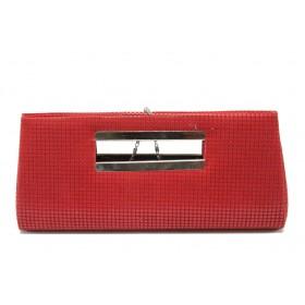 Дамска чанта - висококачествен еко-велур и еко кожа-лак - червени - МИ 5 червен
