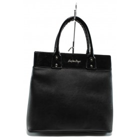 Дамска чанта - висококачествена еко-кожа - черни - СБ 1122 черна кожа - 2015