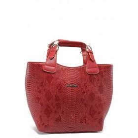"""Дамска чанта - еко-кожа с """"кроко"""" мотив - червени - СБ 1130 червена анаконда - 2015"""