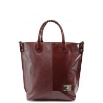 Дамска чанта - висококачествена еко-кожа - бордо - СБ 1129 бордо кожа-лак - 2015
