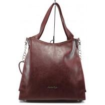 Дамска чанта - висококачествена еко-кожа - бордо - СБ 1131 бордо кожа