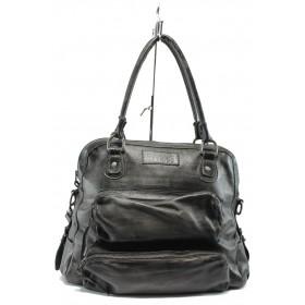 Дамска чанта - естествена кожа - черни - ИО 2 черна опушена