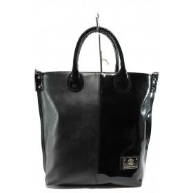 Дамска чанта - висококачествена еко-кожа - черни - СБ 1129 черен кожа-лак - 2015