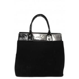 Дамска чанта - висококачествен еко-велур и еко кожа-лак - черни - СБ 1122 черен велур - 2015