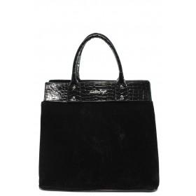 Дамска чанта - висококачествен еко-велур и еко кожа-лак - черни - СБ 1122 черен велур-кроко