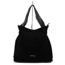 Дамска чанта - висококачествена еко-кожа и велур - черни - СБ 1131 черен велур - 2015