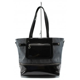 Дамска чанта - висококачествена еко-кожа в съчетание с еко кожа-лак - черни - СБ 1174 черен кожа-лак