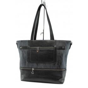 Дамска чанта - висококачествена еко-кожа - черни - СБ 1174 черна кожа