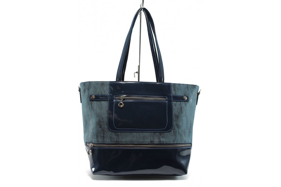 Дамска чанта - еко кожа-лак - сини - СБ 1174 син кожа-лак