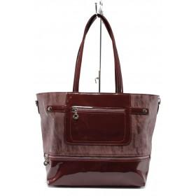 Дамска чанта - еко кожа-лак - бордо - СБ 1174 бордо кожа-лак