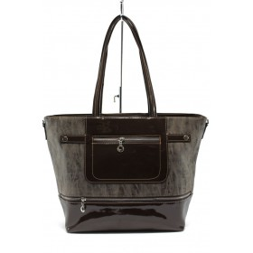 Дамска чанта - еко кожа-лак - кафяви - СБ 1174 кафява кожа-лак