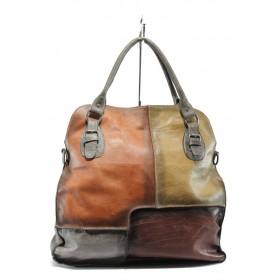 Дамска чанта - естествена кожа - оранжеви - EO-7369