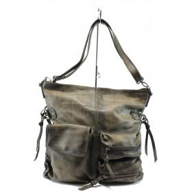 Дамска чанта - естествена кожа - светлокафяв - EO-7639
