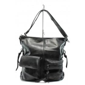 Дамска чанта - естествена кожа - черни - EO-7640