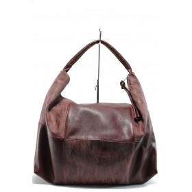 Дамска чанта - висококачествена еко-кожа - бордо - EO-7702