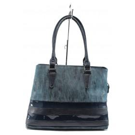 Дамска чанта - висококачествена еко-кожа в съчетание с еко кожа-лак - сини - EO-7705