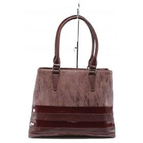 Дамска чанта - висококачествена еко-кожа в съчетание с еко кожа-лак - бордо - EO-7707