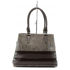 Дамска чанта - висококачествена еко-кожа в съчетание с еко кожа-лак - кафяви - EO-7708