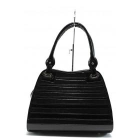 Дамска чанта - висококачествена еко-кожа в съчетание с еко кожа-лак - черни - EO-7709