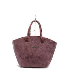 Дамска чанта - висококачествена еко-кожа - бордо - EO-7712