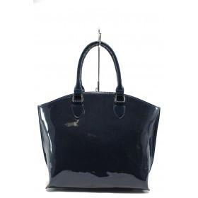 Дамска чанта - еко кожа-лак - сини - EO-7715