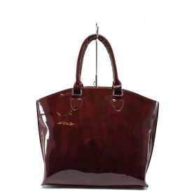 Дамска чанта - еко кожа-лак - бордо - EO-7716