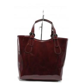 Дамска чанта - еко кожа-лак - бордо - EO-7717