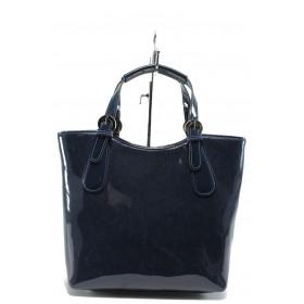 Дамска чанта - еко кожа-лак - сини - EO-7718
