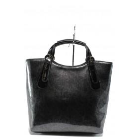 Дамска чанта - еко кожа-лак - черни - EO-7719