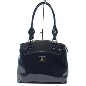 Дамска чанта - еко кожа-лак - сини - EO-7720