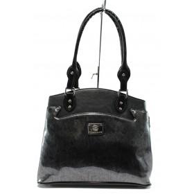 Дамска чанта - еко кожа-лак - черни - EO-7721