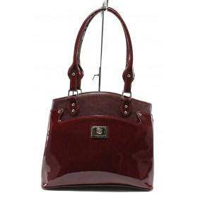 Дамска чанта - еко кожа-лак - бордо - EO-7722