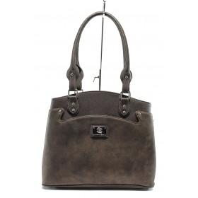 Дамска чанта - еко кожа-лак - кафяви - EO-7723