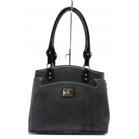 Дамска чанта - еко кожа-лак - черни - EO-7724