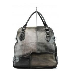 Дамска чанта - естествена кожа - черни - EO-7761