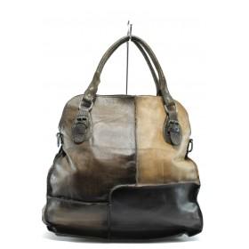 Дамска чанта - естествена кожа - тъмнокафяв - EO-7760