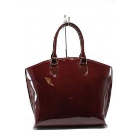 Дамска чанта - висококачествена еко-кожа - бордо - EO-7774