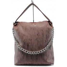 Дамска чанта - висококачествена еко-кожа - бордо - EO-7776