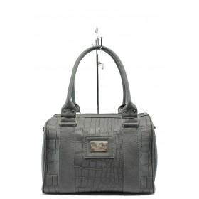 Дамска чанта - висококачествена еко-кожа - сиви - EO-7784